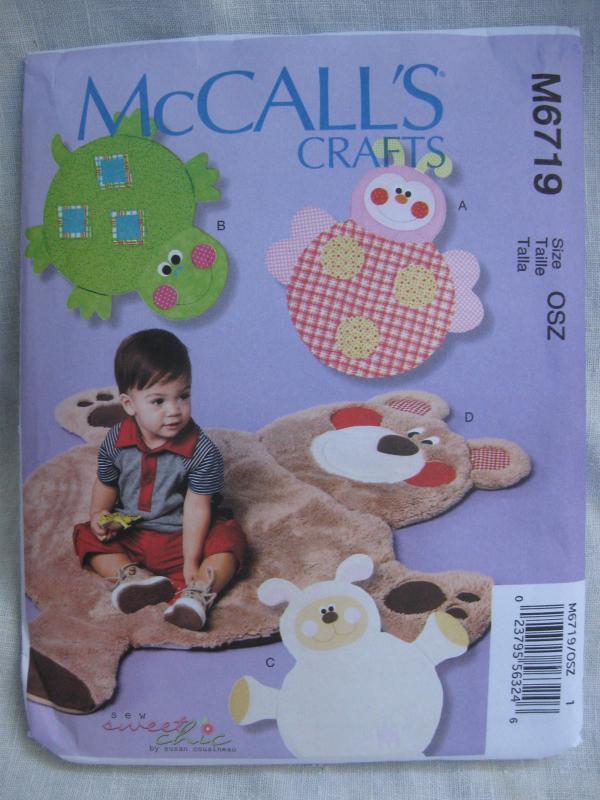 New McCall's Crafts M6719 6719 Child's Bear Lamb Turtle Ladybug Play Mats Rugs Sewing Pattern