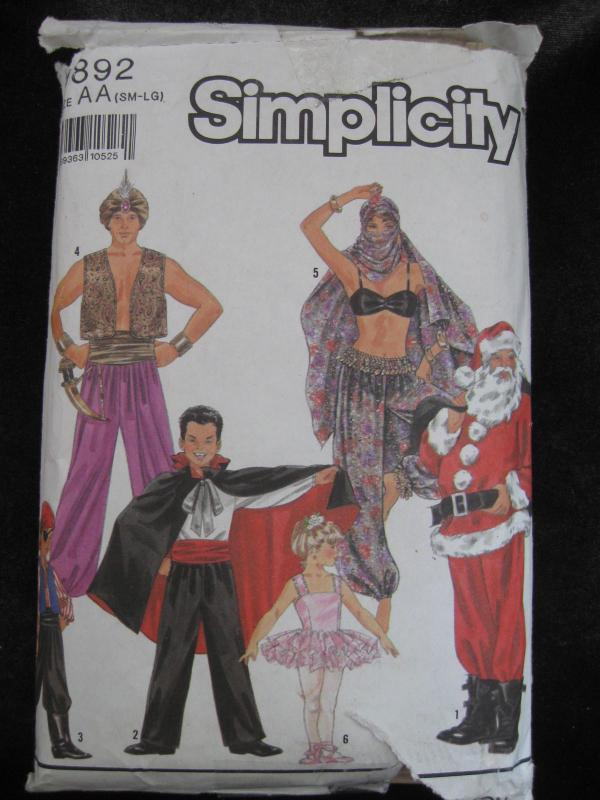 Simplicity 9892 Santa Vampire Ballerina Pirate Alladin Belly Dancer Halloween Costume Sewing Pattern S  -  L