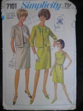 New Vintage Simplicity 7101 Women's Half Size 20 1/2 Dress & Jacket  Sewing Pattern 1960's
