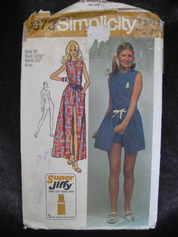 New Vintage Simplicity 9974 Misses' Jiffy Wrap Skirt & Jumpsuit Sewing Pattern 1970's