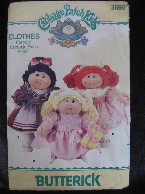 New Vintage Butterick 3659 Cabbage Patch Kids Clothes Dresses Sewing Pattern