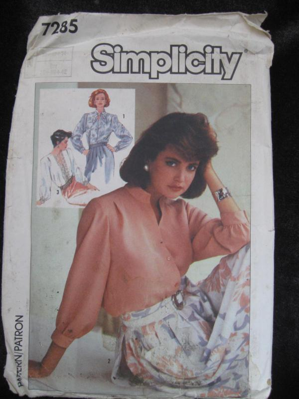 New Vintage Simplicity 7285 Misses' Blouses Sewing Pattern 1980's