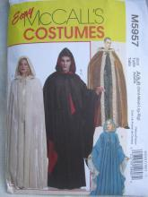 Easy McCall's M5957 5957 Men's Misses' Cape Robe Hood Lord Of The Rings Renaissance Halloween Costume Sewing Pattern