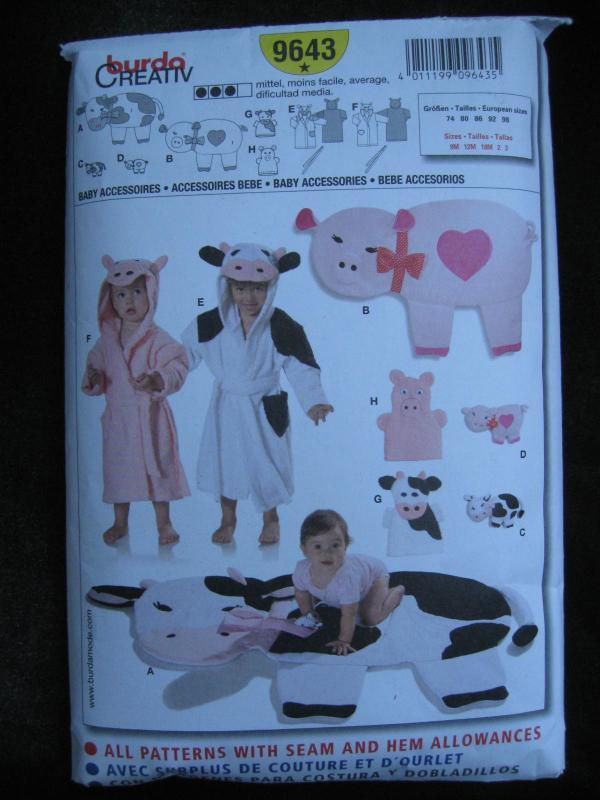 Burda 9643 Baby's Pig Cow Hooded Robe Play Mat Baby Accessories  Sewing Pattern