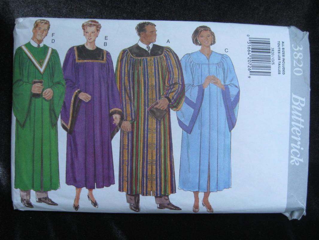 Butterick 3820  Men's Women's Minister Robe Collar Choir Sewing Pattern