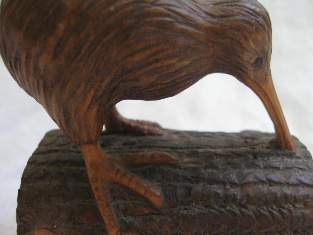 New Zealand Carved Wood Kiwi Wingless Bird Figurine