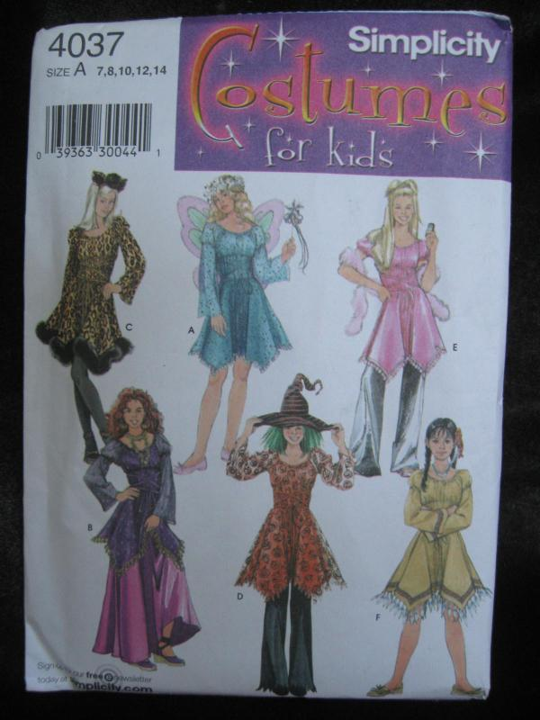 New Simplicity 4027 Girl's Fairy Witch Indian Gypsy Halloween Costume Sewing Pattern Size 7 8 10 12 14