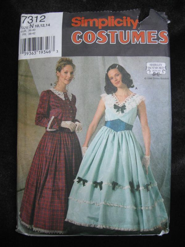 New Simplicity 7312 Misses'  Civil War GWTW Dresses Halloween Costume Sewing Pattern Size 10 12 14