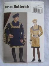 New Butterick BP204 204 Men's Top  Renaissance Medieval Romeo Halloween Costume Sewing Pattern Size  Xl XXl XXXl