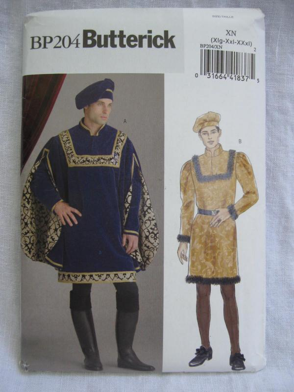New Butterick BP204 204 Men's Top  Renaissance Medieval Romeo Halloween Costume Sewing Pattern Size  Xl XXl XXXl