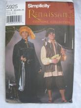 New Simplicity 5925 5925 Men's Top Shirt Pants & Hat Renaissance Medieval Minstrel Halloween Costume Sewing Pattern Size S  M L XL