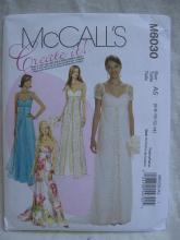 New McCall's M6030 6030  Misses'  Floor Length Empire Bridal Evening Prom Dress Sewing Pattern Size 6 8 10 12 14