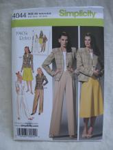 New Simplicity  4044 1940's Retro Misses' Skirt, Pants & Lined Jacket Sewing Pattern Size 10 12 14 16 18