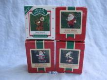 Hallmark Lot Of 4 Santa & Animal Beary Special Jolly Hiker Soft Landing Ornaments