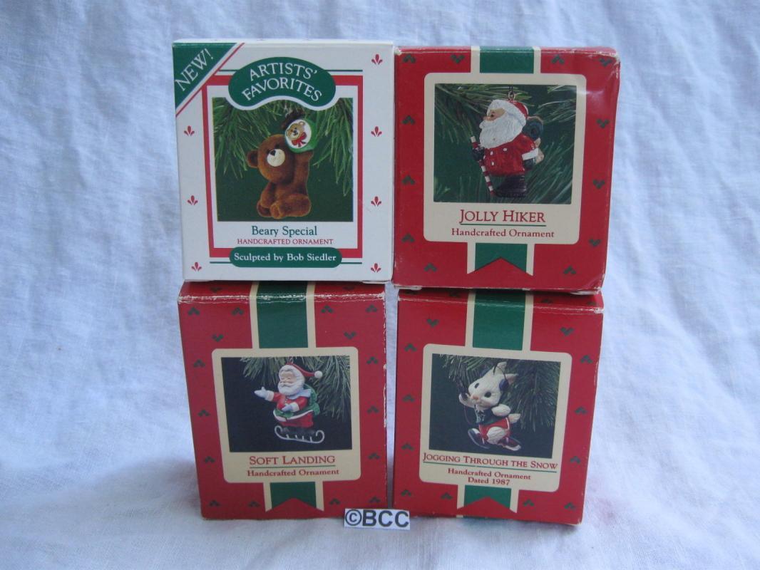 Hallmark Lot Of 4 Santa & Animal Beary Special Jolly Hiker Soft Landing Ornaments