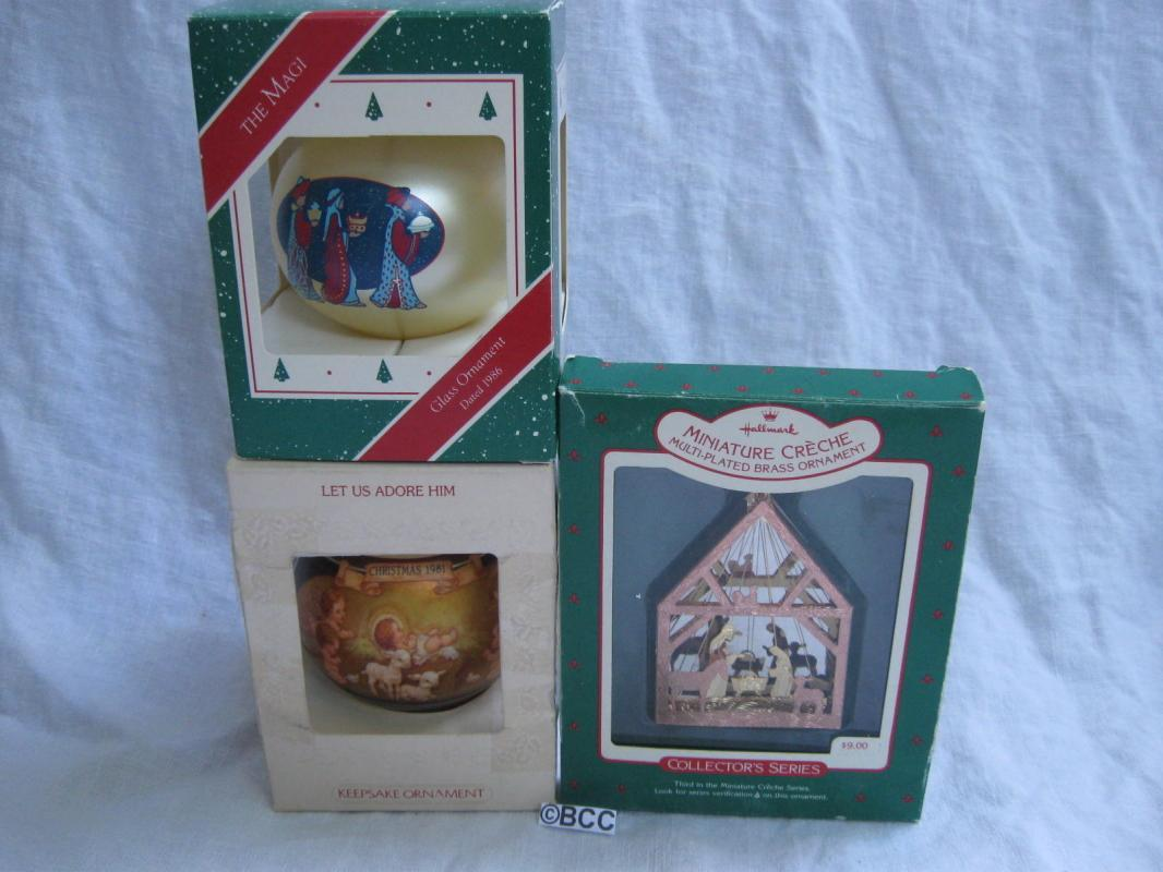 3 Hallmark Religious Ornaments The Magi  Three Wise Men Let Us Adore Him Creche 1980's
