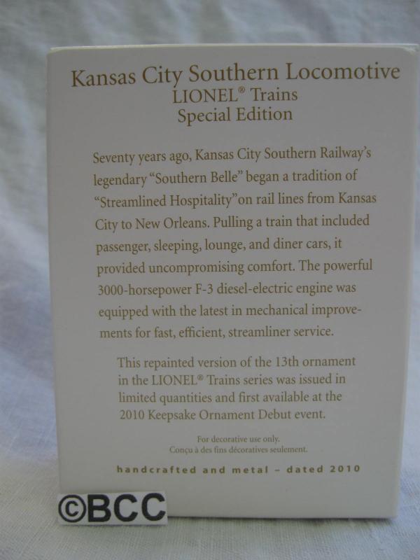 Hallmark 2010 Lionel Kansas City Southern Locomotive