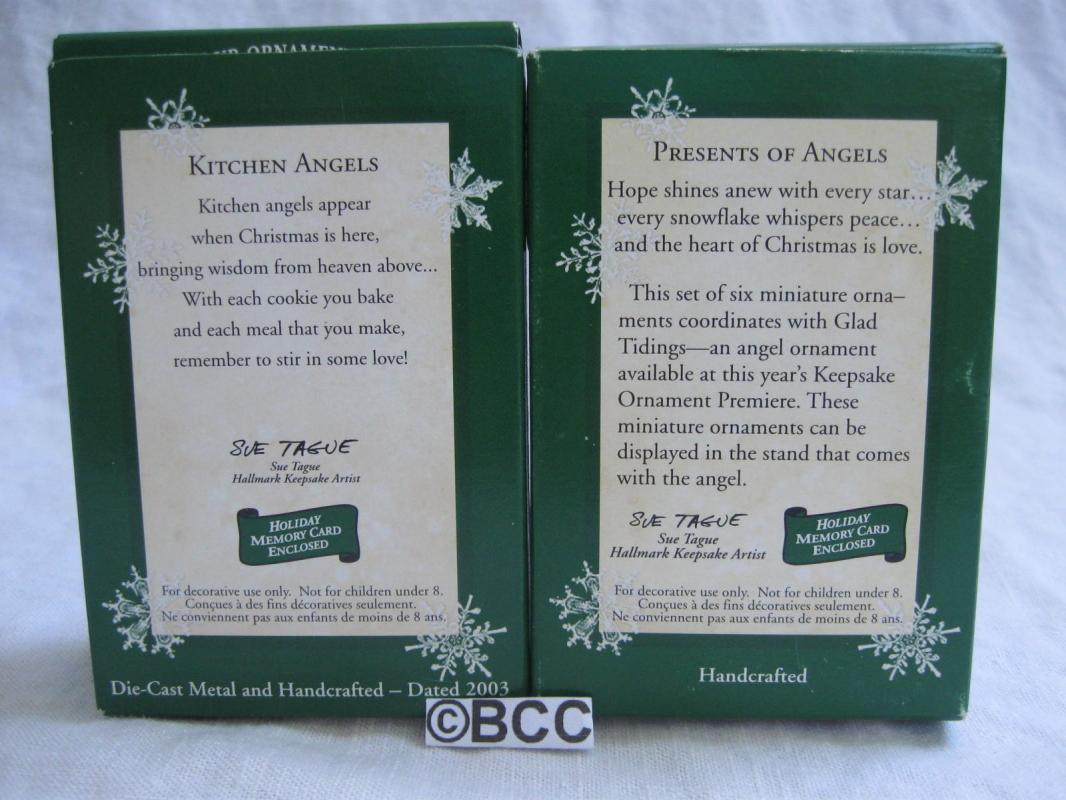 Hallmark 2003 Kitchen Angels & Presents Of Angels  Miniature Ornaments   Lot of 2