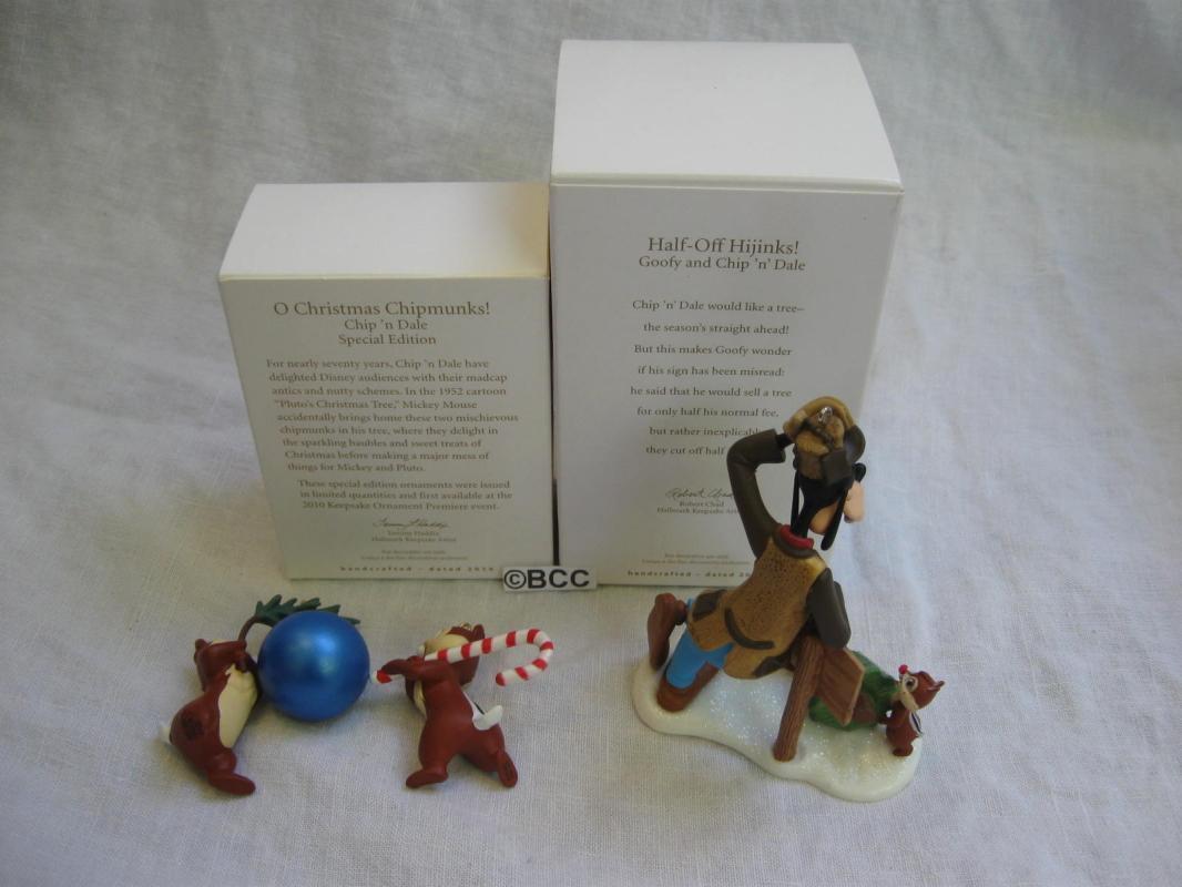 Hallmark 2010 2012 O Christmas Chipmunks Half Off Hijinks Disney Goofy Chip N Dale Ornaments