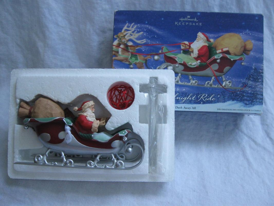 Hallmark 2005 Santa's Midnight Ride Dash Away All & Ready For Flight Set of 3 Christmas Tree Ornaments