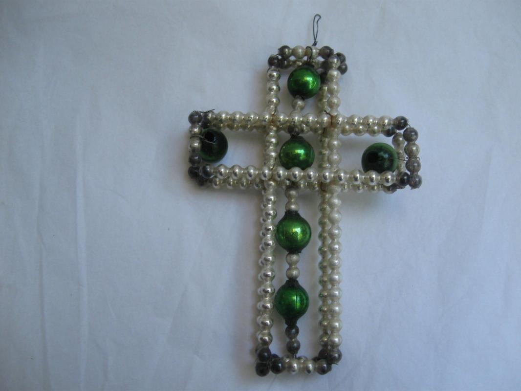 Vintage Mercury Glass  Wire Cross Christmas Tree Ornament