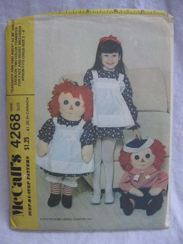 New Vintage McCall''s 4268  Raggedy Ann & Andy 36