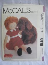 New Vintage McCall''s 8118 Little Orphan Annie & Sandy Dolls 36