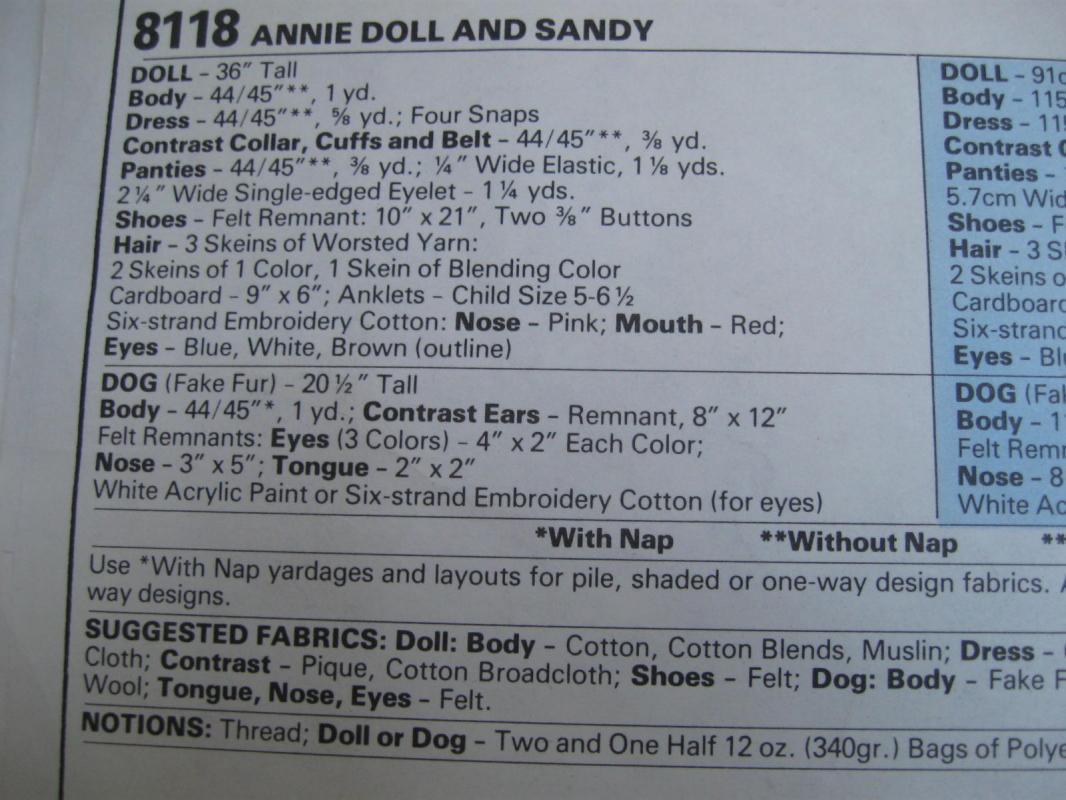 New Vintage McCall''s 8118 Little Orphan Annie & Sandy Dolls 36