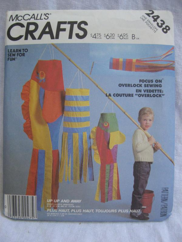 New Vintage McCall''s Crafts 2438 Fish Up Up & Away Wind Socks Sewing Pattern