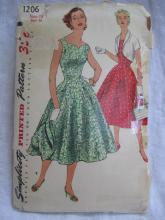 Vintage Simplicity 1206 Misses' Gathered Dress Bolero Jacket Sewing Pattern  1950's Size 18