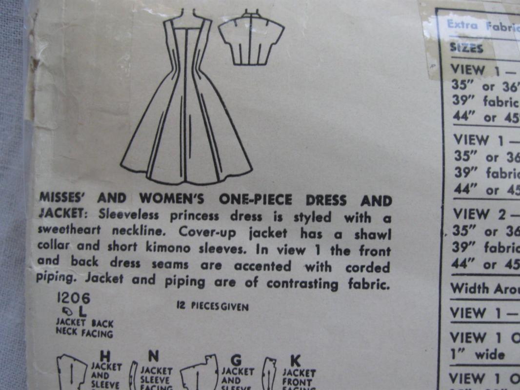 Vintage Simplicity 1206 Misses' Gathered Dress Bolero Jacket Sewing Pattern  1950's Size 18