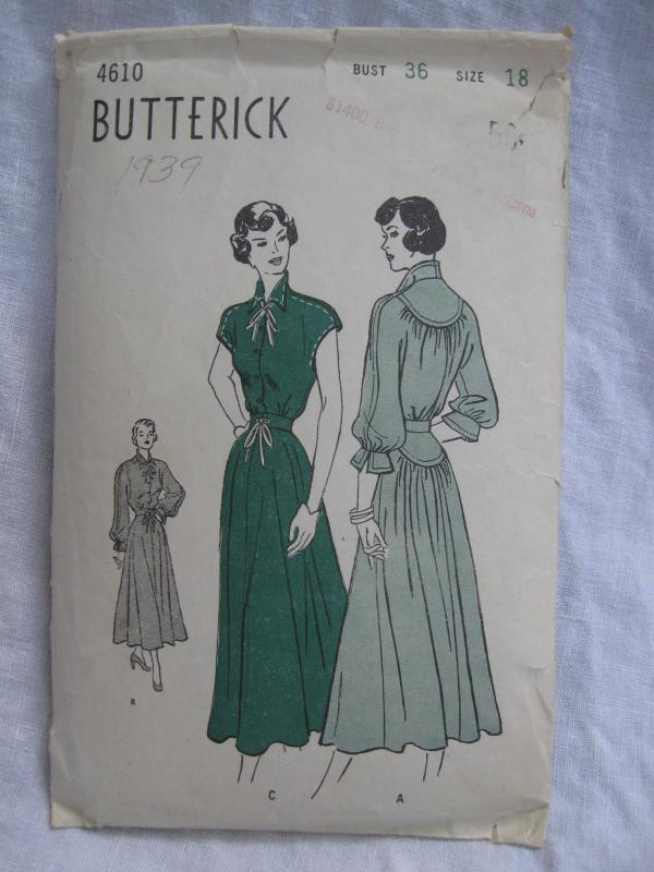 Vintage Butterick 4610 Misses' One Piece Dress  Sewing Pattern  1940's 1950's Size 18