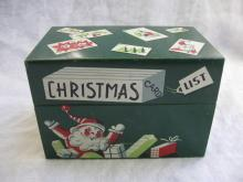 Vintage Mayfair Co.Chicago Christmas Card List Recipe Tin Box Santa Claus 1954