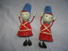 2 Vintage Fitz & Floyd Toy Soldier Belll Shaped Christmas Ornaments