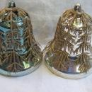 4 Vintage Plastic Bells With Filligree Covers  Christmas Tree Ornaments