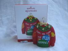 Hallmark 2013 Holiday Fun Ugly Christmas Sweater Keepsake Ornament Not Gay