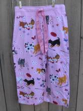 Nick & Nora Pink Puppy Dog Kitty Pajama PJ's Bottoms Size S