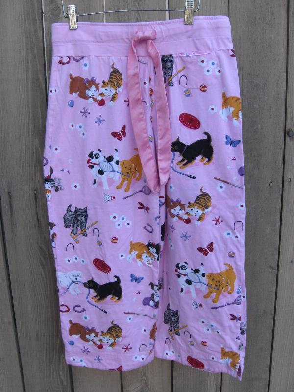 Nick & Nora Pink Puppy Dog Kitty Pajama PJ's Bottoms Size S