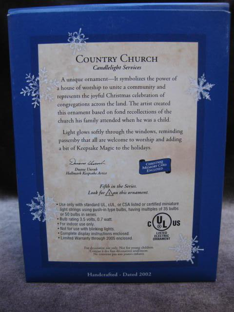 Hallmark 2002 Country Church Candlelight Services  Magic Ornament   5th in Series