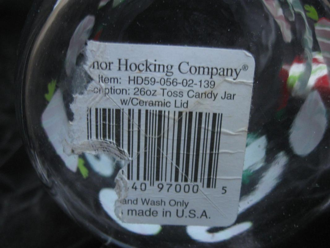 Anchor Hocking Apothecary Candy Treat Christmas Glass Jar Canister Candy Canes