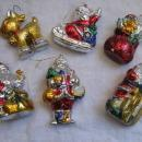 6 Vintage Red Silver Gold Painted Santa Rudolph Hard Plastic Christmas Ornaments
