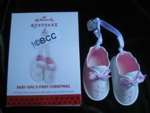 Hallmark 2013 Baby's Baby Girl's First Christmas Pink Booties Christmas Ornament