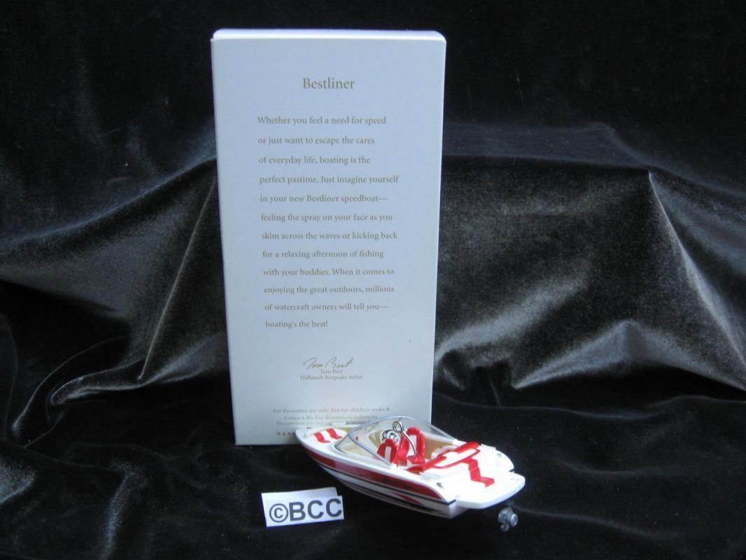 Hallmark 2008 Bestliner Red & White Watercraft Speedboat Christmas Ornament
