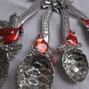 Ganz Set of Four Christmas Red Cardinal Measuring Spoons Happy Holidays