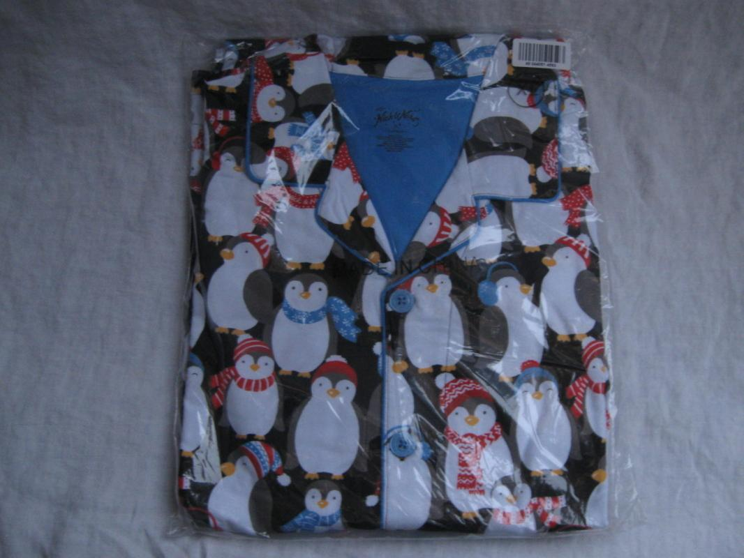 Nick & Nora Christmas Penguins Pajamas PJ's Set Mens New Size XL