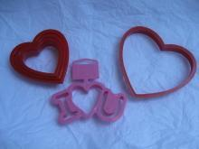 Wilton 5 Valeintine Hearts Pink I Love You Valentine's Day Cookie Cutters