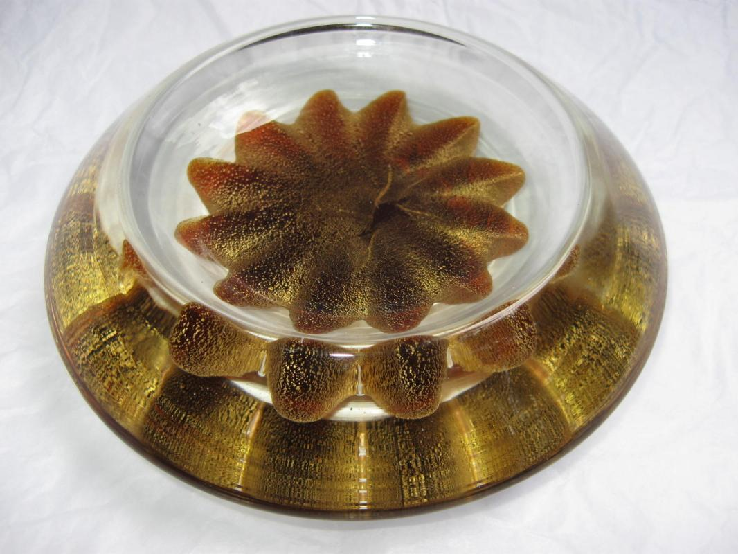 Large Concave Gold Star Paperweight or Candy Dish