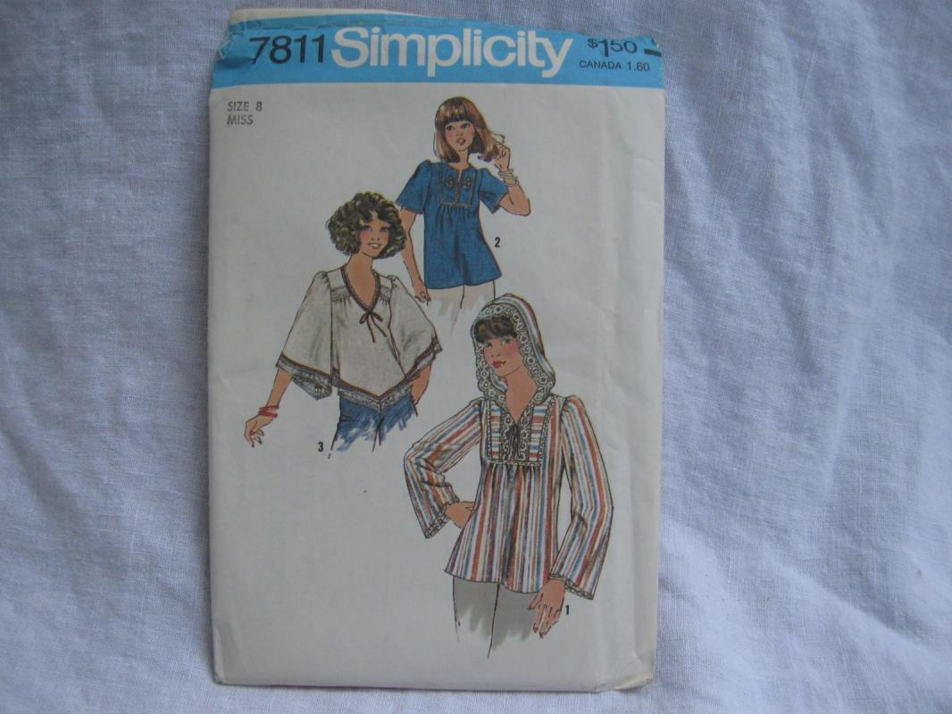 New Vintage Simplicity 7811 Handerchief Hem Blouse Hood Sewing Pattern Miss 8 Hippieing Pattern XS-XL 4851 5418 8910