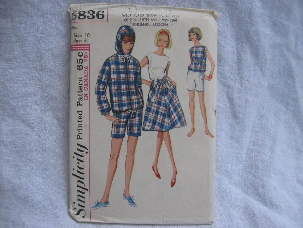 New Vintage Simplicity 5836 Wrap Skirt Short Pullover Shirt Sewing Pattern Miss 10 1960's