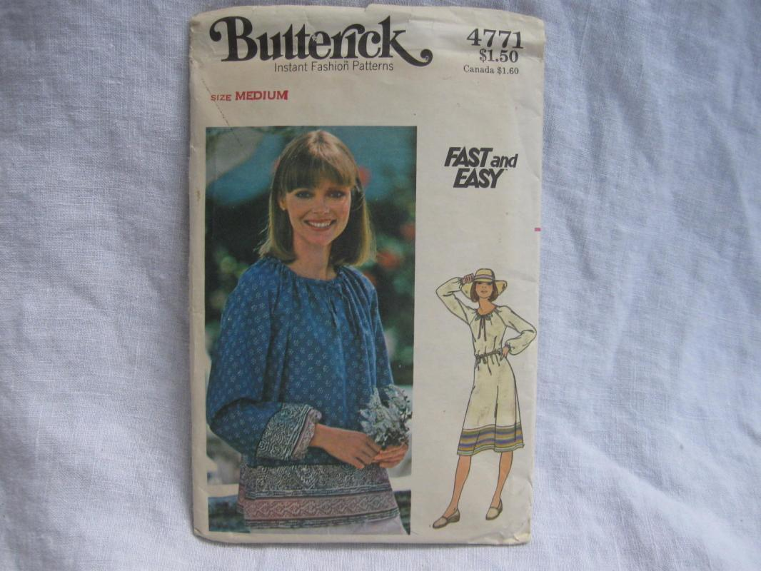 New Vintage Butterick 4771 Fast & Easy Misses' Dress or Top Sewing Pattern Misses'  Medium